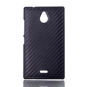 Black Carbon Fiber Leather Coated Hard Case for Nokia X2 1013 Dual SIM