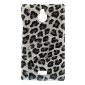 White Leopard Leather Coated Hard Phone Cover for Nokia X2 1013 Dual SIM