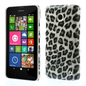 Gray Leopard Pattern Leather Coated Hard Case for Nokia Lumia 630
