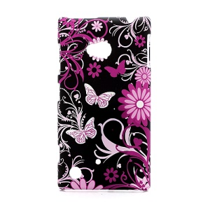 Butterflies and Floral Plastic Case Shell for Nokia Lumia 720
