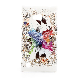 Fluttering Butterfly Hard Case Cover for Nokia Lumia 720 (White Background)