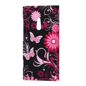 Nokia Lumia 800 Sea Ray Butterfly Flower Rubberized Hard Case