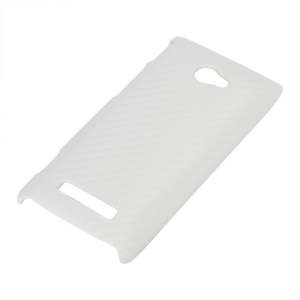 Carbon Fiber Leather Hard Case for HTC Windows Phone 8S - White