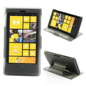 Folio Touchable TPU Front Cover + PC Back Case for Nokia Lumia 920 - Grey