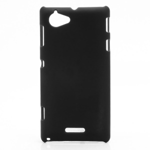Rubberized Hard Plastic Case Accessories for Sony Xperia L S36h C2105 C2104 - Black
