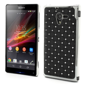 Shiny Starry Sky Rhinestone Electroplated Hard Case for Sony Xperia ZL C6503 C6502 C6506 L35h - Black
