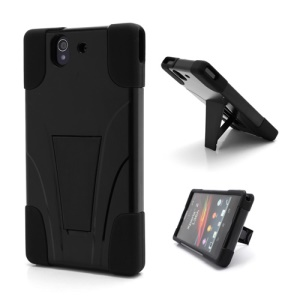Premium Plastic &amp; Silicone Combo Cover Case Kickstand for Sony Xperia Z C6603 L36h Yuga