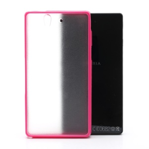 Frosted Translucent Plastic Back Case & Glossy TPU Frame for Sony Xperia Z C6603 C6602 L36h HSPA+ LTE - Rose