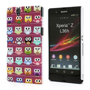 Multiple Owls Plastic Case for Sony Xperia Z C6603 C6602 L36h HSPA+ LTE - Purple Background