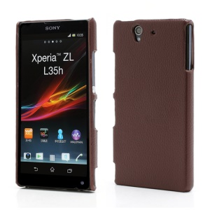 Slim Leather Coated Hard Plastic Cover for Sony Xperia Z C6603 C6602 L36h HSPA+ LTE - Brown