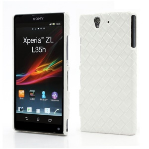 Woven Pattern Leather Skin Hard Plastic Case for Sony Xperia Z C6603 C6602 L36h HSPA+ LTE - White