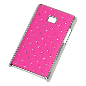 Baby-Breath Diamond Plating Hard Back Case for LG Optimus L3 E400 - Hot Pink