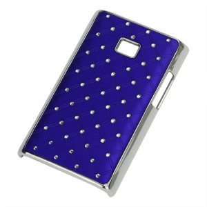 Baby-Breath Diamond Plating Hard Back Case for LG Optimus L3 E400 - Dark Blue