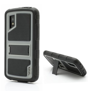 Anti-slip Plastic &amp; TPU Hybrid Armor Case with Built-in Stand for LG Google Nexus 4 E960 Mako - Black / Grey