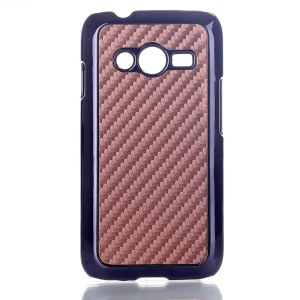 Brown Carbon Fibre Leather Coated Hard Case Cover for Samsung Galaxy Ace NXT SM-G313H