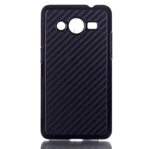 Carbon Fiber Leather Skin PC Hard Case for Samsung Galaxy Core 2 G355H - Black