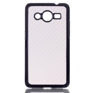 Carbon Fiber Leather Skin PC Hard Cover for Samsung Galaxy Core 2 G355H - White