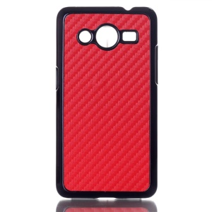 Carbon Fiber Leather Skin Hard Back Cover for Samsung Galaxy Core 2 G355H - Red