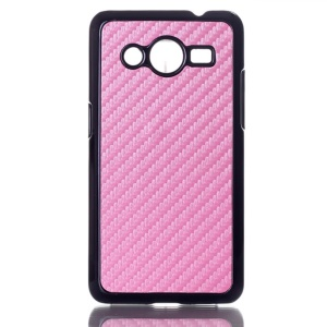 Carbon Fiber Leather Skin Hard Case Cover for Samsung Galaxy Core 2 G355H - Pink