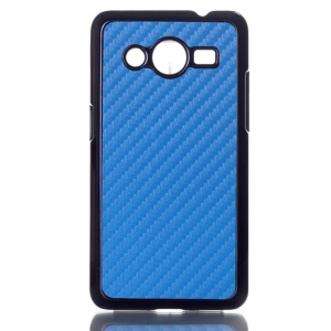 Carbon Fiber Leather Skin Hard Phone Case for Samsung Galaxy Core 2 G355H - Blue