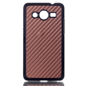 Carbon Fiber Leather Skin Hard Plastic Case for Samsung Galaxy Core 2 G355H - Brown