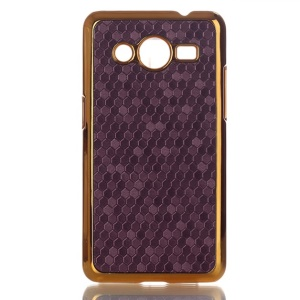 Football Grain Leather Coated Platic Cover for Samsung Galaxy Core II 2 G355H - Violet