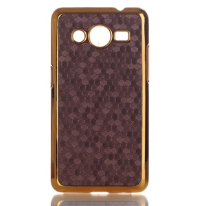 Football Grain Leather Coated Hard Phone Case for Samsung Galaxy Core II 2 G355H - Coffee