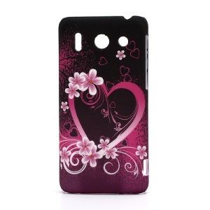 Sweet Heart Floral Rubberized Hard Case for Huawei Ascend G510 U8951D