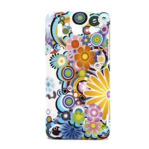 Rubberized Hard Case Shell for Huawei Ascend G510 U8951D Colorful Flowers Design