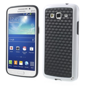 3D Cube PC & TPU Hybrid Cover for Samsung Galaxy Grand 2 Duos G7100 G7105 - Black / White