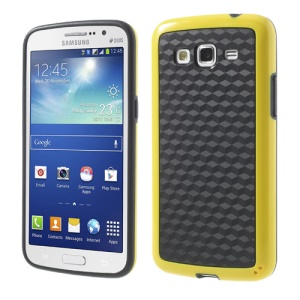 3D Cube PC & TPU Case for Samsung Galaxy Grand 2 Duos G7100 G7102 - Black / Yellow