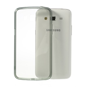 Grey Glossy Crystal Clear Acrylic + TPU Hybrid Case for Samsung Galaxy Grand 2 G7102 G7105 G710S G7100