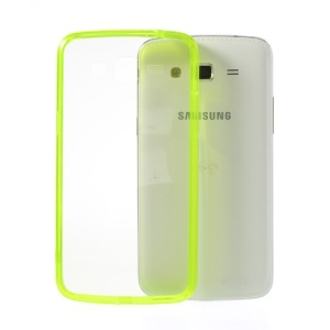 Yellow Green Glossy Crystal Clear Acrylic + TPU Hybrid Case for Samsung Galaxy Grand 2 G7102 G7105