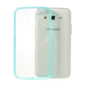 Cyan Glossy Crystal Clear Acrylic + TPU Hybrid Cover for Samsung Galaxy Grand 2 G7102 G7100