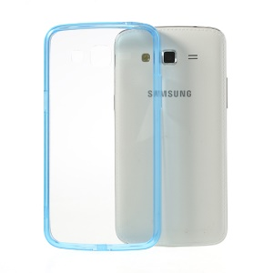 Blue for Samsung Galaxy Grand 2 G7106 G7100 Glossy Crystal Clear Acrylic + TPU Hybrid Shell