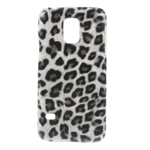 Leopard Leather Coated Protective Hard Case for Samsung Galaxy S5 Mini SM-G800 - White