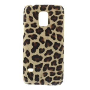 Leopard Leather Coated Protective Hard Cover for Samsung Galaxy S5 Mini SM-G800 - Beige