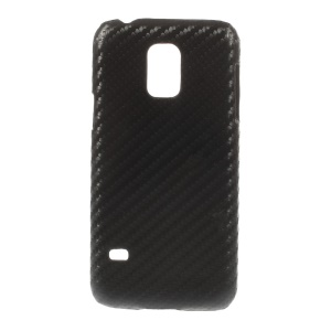 For Samsung Galaxy S5 Mini SM-G800 Carbon Fiber Leather Coated Hard Back Shell - Black
