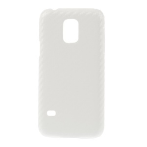 For Samsung Galaxy S5 Mini SM-G800 Carbon Fiber Leather Coated Hard Back Case - White