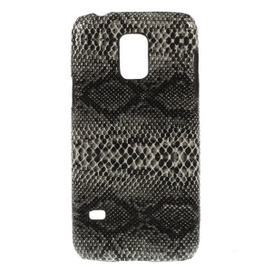 Snake Skin Leather Coated Protective Hard Shell for Samsung Galaxy S5 Mini SM-G800 - Black