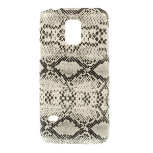 Snake Skin Leather Coated Protective Hard Case Shell for Samsung Galaxy S5 Mini SM-G800 - White