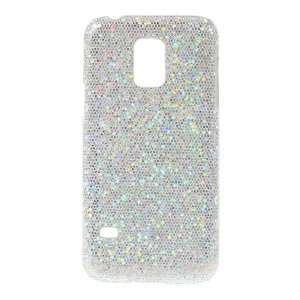 Silver Glittery Sequins Leather Coated Hard Protective Shell for Samsung Galaxy S5 Mini SM-G800