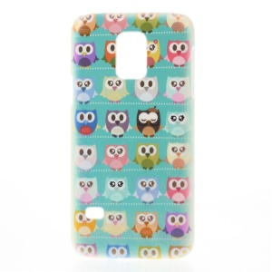 For Samsung Galaxy S5 Mini SM-G800 Plastic Hard Shell - Blue Background Multiple Owls