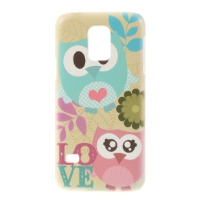 For Samsung Galaxy S5 Mini SM-G800 Plastic Hard Shell Cover - Couple Owls & Flower