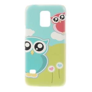 For Samsung Galaxy S5 Mini SM-G800 Plastic Hard Back Shell - Couple Owls & Cloud