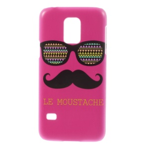 For Samsung Galaxy S5 Mini SM-G800 Plastic Protective Slim Cover - Rose Le Moustache & Glasses