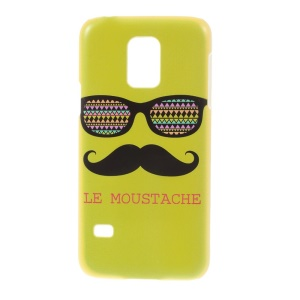 For Samsung Galaxy S5 Mini SM-G800 Plastic Protective Slim Case Cover - Green Le Moustache & Glasses