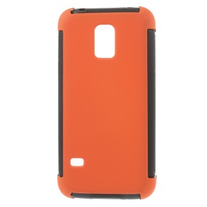 PC + TPU Shell Case for Samsung Galaxy S5 mini G800 w/ Built-in Screen Protector - Orange