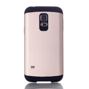 For Samsung Galaxy S5 Mini G800 Dots Pattern PC & TPU Combo Back Case - Champagne