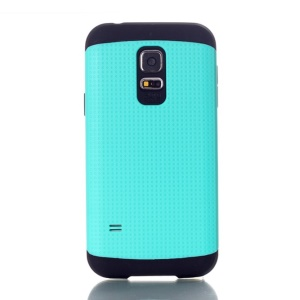 For Samsung Galaxy S5 Mini G800 Dots Pattern PC & TPU Combo Back Case - Cyan